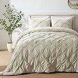 SEMECH Pinch Pleat King Comforter Set, Ultra-Soft Microfiber Bedding Comforters Sets, 3 Piece Dark Ivory King Size Comforter Set with 2 Shams