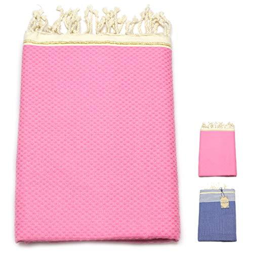 ANNA ANIQ Fouta Hamamtuch Sauna-Tuch XXL Extra Groß 100x200cm - 100% Baumwolle aus Tunesien als Strand-Tuch, orientalisches Bade-Tuch, Picknick, Yoga, Schal, Pestemal, Strand-Handtuch (Pink)