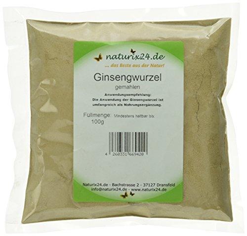 Naturix24 Ginseng Pulver, Ginsengwurzel weiß gemahlen – Beutel, 1er Pack (1 x 100 g)