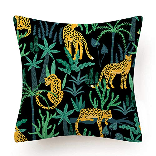 Fundas Para Cojines,Moderno Abstracto Verde Tropical Jungla Planta Leopardo Animal Suave Comfye Doble Cara Impresión Funda De Cojín Cuadrado 18X18 Pulgadas Para Sofá Coches Sala De Estar Dormitor