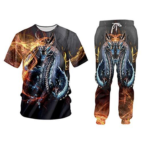 Pandodut 3D Impresión del dragón del Fuego Fresco Ocasional Streetwear Sudadera y Pantalones de Cuello Redondo con Capucha Hombres/Mujeres chándal TSPA02215 L