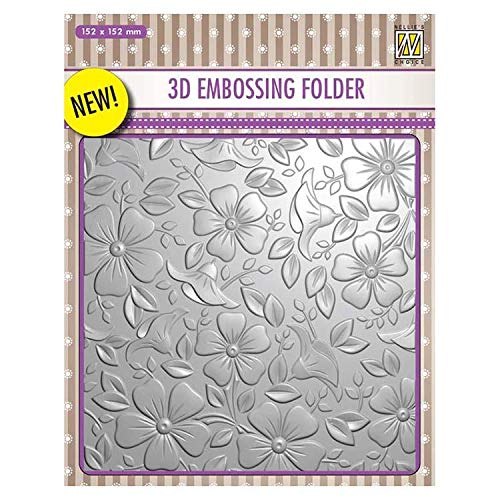 """Nellie's Choice 3D Embossing Folders Backgrounds Flowers-3"""" - 152x152mm"""