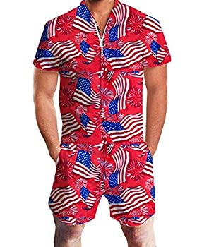 Idgreatim Men Jumpsuit Bust Pocket Short Sleeve 3D Graphic Rompers Overalls One Piece Outfits