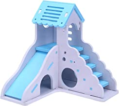 CHoppyWAVE Hamster Toy,Colorful Mini Wooden Slide DIY Assemble Hamster House Small Animals Pet Toy Blue