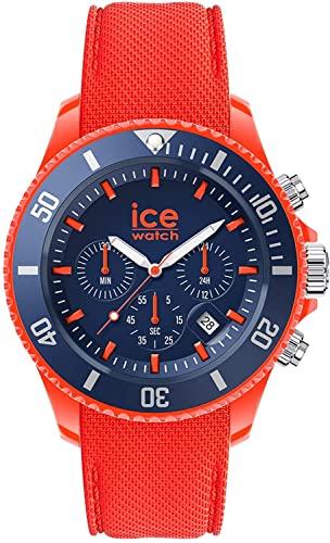 Ice-Watch Ice Chrono Orange Blue, Reloj Naranja para Hombre con Correa de Silicona, Cronógrafo, 019841, Large