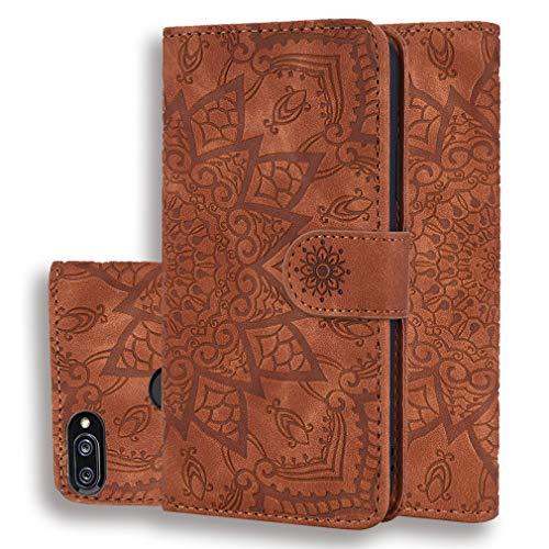 LMFULM® Hülle für Xiaomi Mi 8 lite (6,26 Zoll) PU Leder Magnet Brieftasche Lederhülle Handytasche Mandala Muster Standfunktion Ledertasche Flip Cover Braun