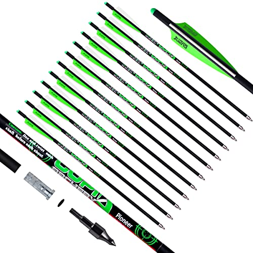 LWANO Crossbow Bolts 16 17 18 20 22 Inch Carbon Hunting Archery Arrows with 4' vanes Moon Nocks and Removable Tips(Pack of 12)(Green, 22 Inch)