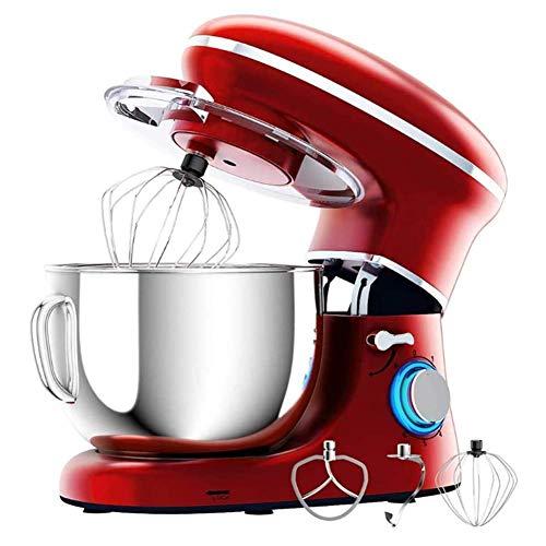 Mezclador de mano, mezclador de alimentos eléctricos Motor potente de 660 vatios, control de 6 velocidades, con tazón de mezcla de acero inoxidable, gancho de masa, batidor, batidor, for cocina 6.2L j