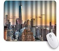 ZOMOY マウスパッド 個性的 おしゃれ 柔軟 かわいい ゴム製裏面 ゲーミングマウスパッド PC ノートパソコン オフィス用 デスクマット 滑り止め 耐久性が良い おもしろいパターン (カラフルなトンボの街並みニューヨーク市のスカイライン)