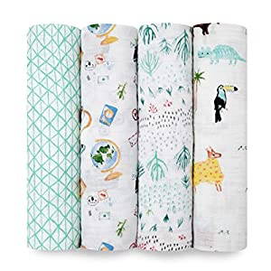 aden + anais Swaddle Blanket, Muslin Blankets for Girls & Boys, Baby Receiving Swaddles, Ideal Newborn Gifts, Unisex Infant Shower Items, Toddler Gift, Wearable Swaddling Set, 4 Pack