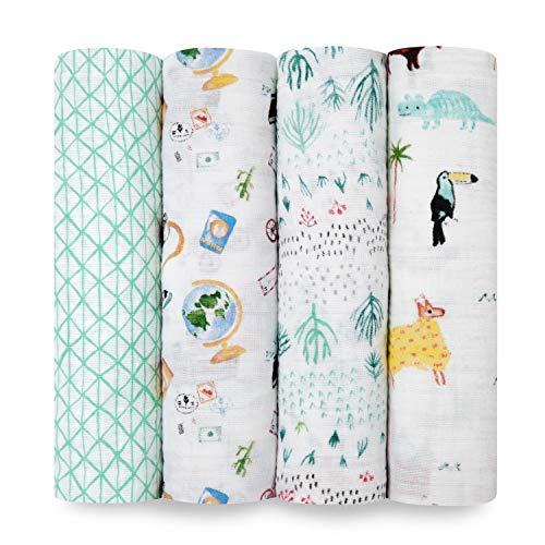 Aden by aden + anais Swaddle Blanket, Muslin Blankets for Girls & Boys, Baby...