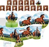Horse Party Supplies and Decorations - Horse Party Plates and Napkins Cups for 16 People - Horse Birthday Banner, Tablecloth and Centerpiece - Horse Birthday Party Decorations and Pony Party Supplies!