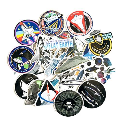 QIANGWEI 34Pcs Vliegtuig Space Station Sticker Laptop Koelkast Telefoon Scrapbook Skateboard Doodle Auto Model Waterdichte Applique