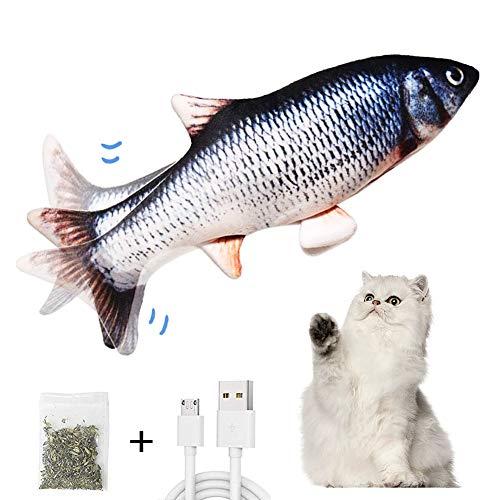 AnCoSoo Elektrisch Spielzeug Fisch, Katzenminze Fischspielzeug für Katze, interaktives Katzenspielzeug, realistische bewegte Fischkatze Spielzeug Haustiere Kissen Kauen Biss Kick für Katzen