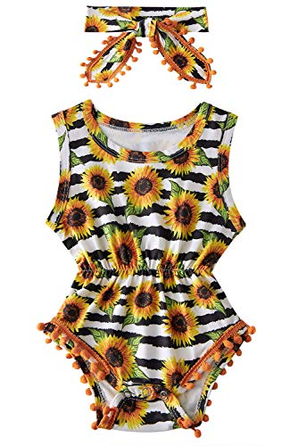 Toddler Girls Yellow Sunflower Playsuits for Baby Funny Black White Stripes Graphics Jumpsuits 1 Years Old Summer Breathable Sleeveless Rompers Kids Soft Comfy Round Neck Slim Fit Onesie, 12-18 Months