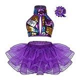 IEFIEL Vestido Lentejuelas de Patinaje Artistico para Niña Maillot de Gimnasia Ritmica Vestido Tutú Sin Manga de Danza Ballet Morado 3-4 años
