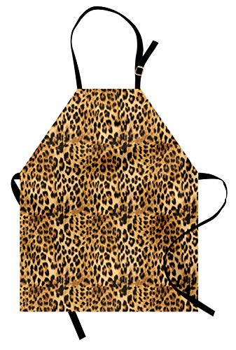 Ambesonne Brown Apron, Leopard Print Animal Skin Digital Printed Wild Safari Themed Spotted Pattern Art, Unisex Kitchen Bib with Adjustable Neck for Cooking Gardening, Adult Size, Brown
