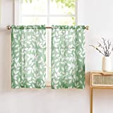 """Treatmentex Kitchen Curtains for Windows 36"""" Tiers with Green and White Leaf Print Café Curtain Panels 2pc"""
