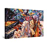 Startonight Cuadro Moderno en Lienzo - Pintura Naranja de la Música de Jazz - Pintura Abstracta para...