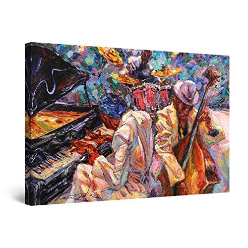 Startonight Cuadro Moderno en Lienzo - Pintura Naranja de la Música de Jazz - Pintura Abstracta para Salon Decoración 60 x 90 cm