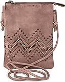 styleBREAKER minibolso de bandolera con motivo recortado en zigzag y remaches, bolso de hombro, bolso, de señora 02012211, color:Rosa palo