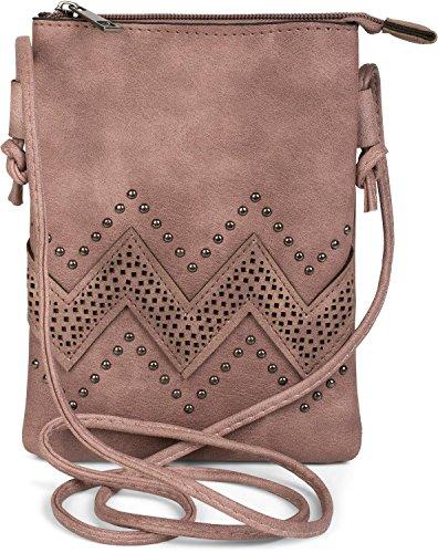 styleBREAKER Mini Bag Umhängetasche mit Zick-Zack Cutout und Nieten, Schultertasche, Handtasche, Tasche, Damen 02012211, Farbe:Altrose