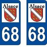 SAFIRMES 2 Stickers Autocollant Style Plaque Immatriculation département 68