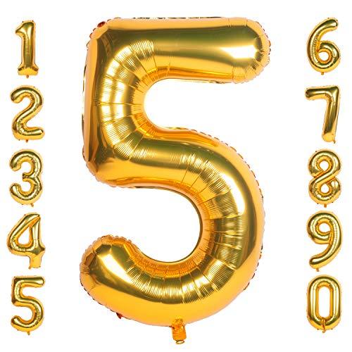 CHANGZHONG 40 Zoll 0 to 9 in Gold Nummer Folienballon Helium Zahlenballon Luftballon Riesenzahl Party Hochzeit Kindergeburtstag Geburtstag Nummer 5