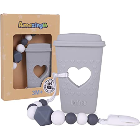 for Newborn Infants for Boy//Girl Coffee Cup Teether with Pacifier Clip Holder Kit Baby Teething Toys Brown BPA Free Silicone by Pandamelon