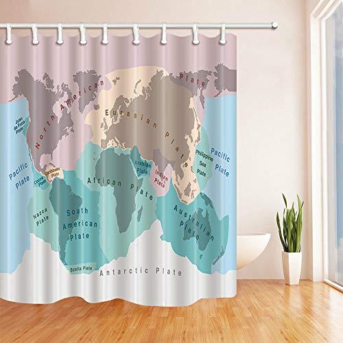 ajhgfjgdhkmdg Placas tectónicas de la Tierra. Decoración antibacteriana Impermeable para Cortinas de baño