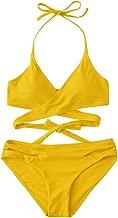 ZAFUL Women's Sexy Halter Wrap Bikini Cross-Cover Padded Swimsuits