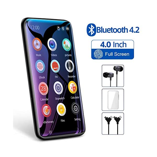 "TIMMKOO MP3 Player with Speaker, 4.0"" Full Touchscreen HD Video Mp4 Player, 8GB Portable HiFi Lossless Sound Mp3 Music Player with FM Radio, Voice Recorder, E-Book, Supports up to 128GB TF Card 3"