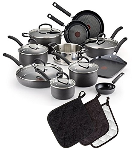 """Bundle Includes - 17-Piece T-fal Ultimate Hard Anodized Scratch Resistant Titanium Nonstick Thermo-Spot Cookware Set and 3 7x7"""" potholders"""