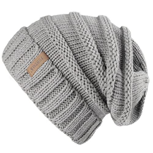FURTALK Gestrickte Winter Slouchy Beanie Mütze Oversized Unisex Crochet Cable Ski Cap Baggy Slouch Hüte für Frauen Männer, Grau, Einheitsgröße