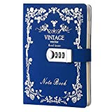 Sealei Combination Locking Journal Diary Password Journal Diary with Lock,Diary With Combination Lock A5 (8.47 X 5.9 Inch) (Blue)