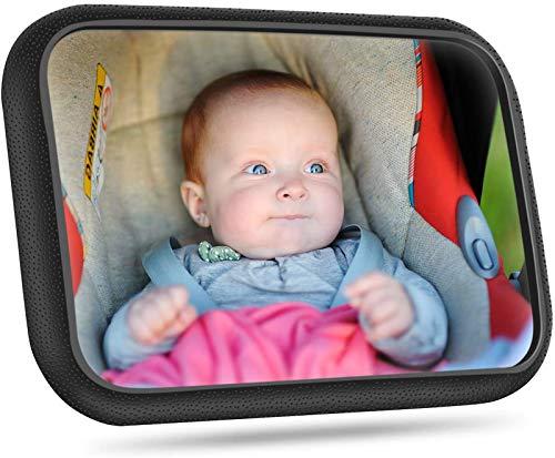 [Actualizada]Espejo Retrovisor Coche Para Bebé, Victsing Gran Tamaño Ver Su Bebé En Asiento Trasero, Espejo Coche Bebé Con Correas Elásticas Ajustables, 360° Rotación, Vista Amplia, Fácil Instalación