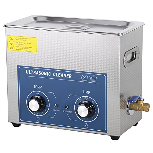 Limpiador por ultrasonidos, dispositivo de limpieza por ultrasonidos, acero inoxidable, dispositivo de limpieza por ultrasonidos, con temporizador y cesta para joyas (6 L)
