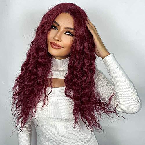 peluca,Pelucas europeas y americanas, pelucas de pelo largo y rizado rojo vino de punto medio, pelucas de pelo sinttico