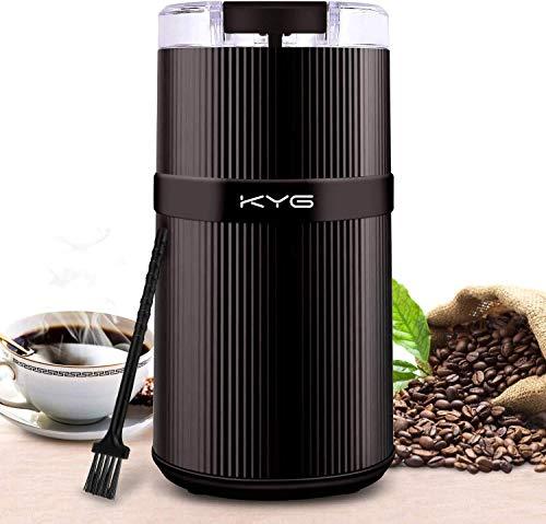 KYG Molinillo de Especias y Café Eléctrico con Cuchilla de Acero Inoxidable Lavable Tritura para Granos de Café Semillas Especias y Nueces 160W