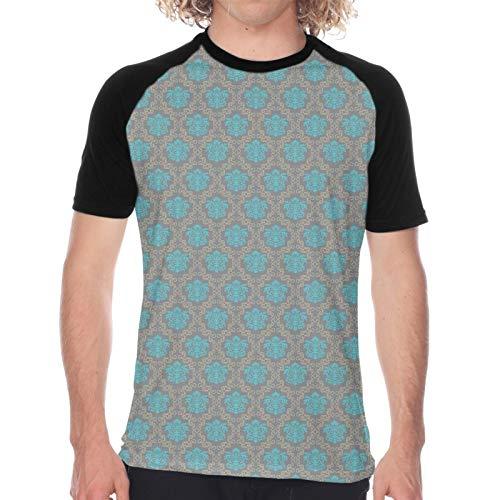 Camiseta de Manga Corta para Hombre,Damasco de Estilo Veneciano con remolinos de Flores y Flores Italianas,Divertidas Imprimir gráfica con Cuello Redondo y diseño Creativo S