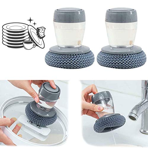 Soap Dispensing Palm Brush,Cepillo Fregar Platos Dispensador,Estropajo con Mango Rellenable