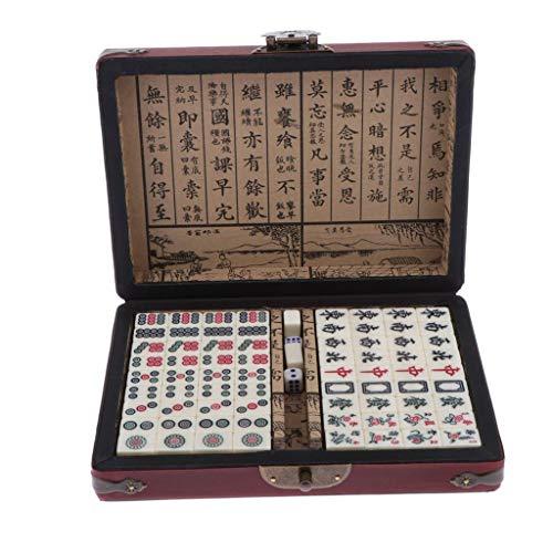 Amagogo 144 Mahjong Tile Set Juego de Mesa de Viaje Juegos Chinos de Mahjong