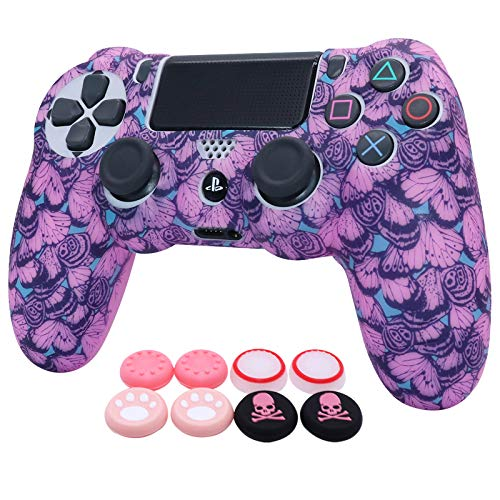 Pink PS4 Controller Skins RALAN,Silicone Controller Cover Skin Protector Compatible /PS4 Slim/PS4 Pro Controller (Pink Pro Thumb Grip x 6 ,Skull Cap Grip x 2)