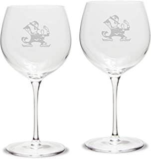NCAA Notre Dame Fighting Irish Leprechaun Logo Luigi Bormioli Titanium Red Wine Glass - Set of 2, Clear, 18 oz