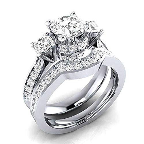 WSSVAN Anillo de Despeje, Anillo de Damas Tres Blanco Sapaz Cristal Simple Anillo de Diamante 2 en 1 Anillo de Circonio Accesorios Regalo de Joyería