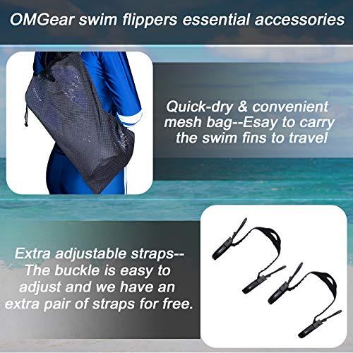 OMGear Swim Fins Snorkel Fins Short Diving Fins Swim Flippers Open Heel Adjustable for Lap Swimming Snorkeling Diving Adult Men Women Kids Travel Size