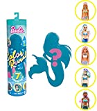Barbie Color Reveal poupée avec 7 éléments mystère, thème Sirènes, 4 sachets surprise, modèle aléatoire, jouet pour enfant, GTP43