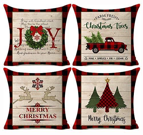 LONLYTISA - Juego de 4 fundas de almohada para decoración navideña (40 x 40 cm), diseño de casa de campo