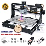 [Upgraded Version] 5500mw Laser Engraver CNC 3018 Pro Engraving Machine, GRBL Control 3 Axis Mini DIY CNC Router Kit with Offline Controller, Working Area 300x180x45mm, for Wood Plastic Acrylic PVC