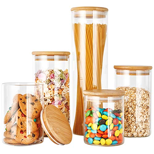 Glass Canister Set with Bamboo Lid, Glass Food Storage Containers Set, Airtight Glass Jar with Wood Lid, Ideal for Coffee, Pasta, Flour, Sugar, Candy and More, 5Pcs-0.5/0.6/0.8/1/1.5L